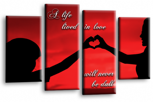 Life Quote Wall Art Print Red Black Love Picture Split Panel